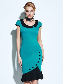 Ericdress Patchwork Mermaid Sheath Dress
