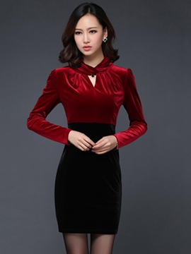 Ericdress Color Block Hollow Long Sleeve Bodycon Dress