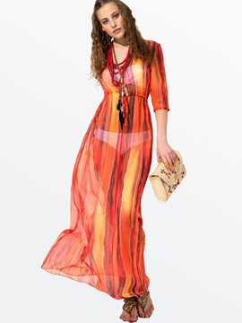 Ericdress Red Three-Quarter Sleeve Bohemia Maxi Dress
