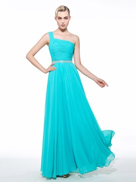 Ericdress A-Line One-Shoulder Beading Long Prom Dress
