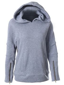 Ericdress Solid Color Zipper Straight Cool Hoodie