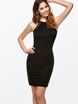 Ericdress Solid Color Open Back Little Black Dress