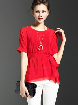 Ericdress Solid Color Chiffon Slim Blouse