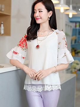 Ericdress Floral Print Flare Sleeve Blouse