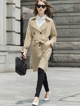 European Slim Double-Breasted Trench Coat