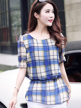 Ericdress Casual Loose Plaid Blouse