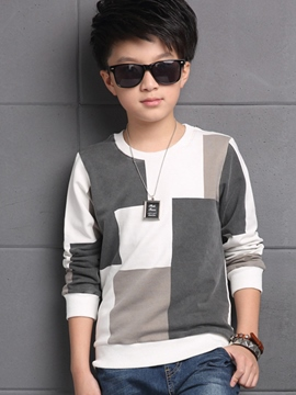 Ericdress Color Block Printed Thread Patchwork Boys Tops