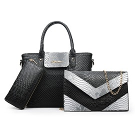 Ericdress Lastest Color Block Alligator Handbags(3 Bags)
