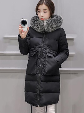Ericdress Solid Color Straight Fur Collar Coat