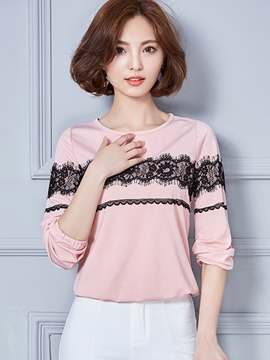 Ericdress Color Block Lace Patchwork T-Shirt