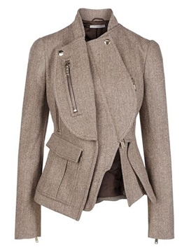 Ericdress Asymmetric Zipper Blazer