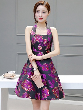 Ericdress Summer Halter Print A-Line Casual Dress