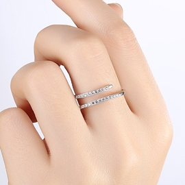 Ericdress Silver Plated Diamante Ring