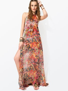 Clocolor? Ericdress Red Printing Sleeveless Maxi Dress