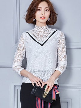 Ericdress Color Block Stand Collar Lace Blouse