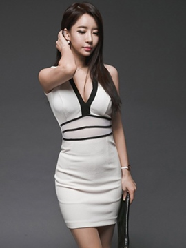 Ericdress Sexy V-Neck Sleeveless Summer Bodycon Dress