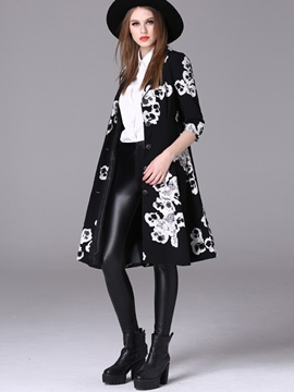 Ericdress Color Block Slim Printed Trench Coat