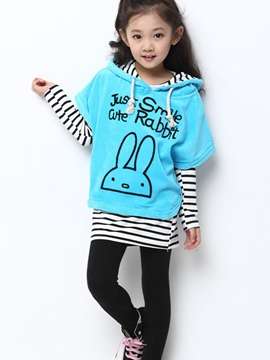 Ericdress Color Block Strip Printed Hooded Girls Outfits