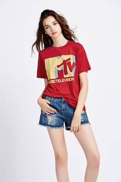 Ericdress Red Letter Print T-Shirt