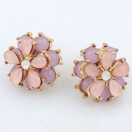 Ericdress Opal Flower Stud Earrings