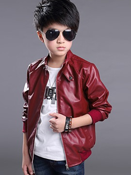 Ericdress Solid Color Stand Collar Boys Jacket