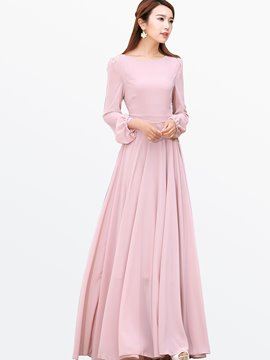 Ericdress Ladylike Solid Color Long Sleeve Maxi Dress