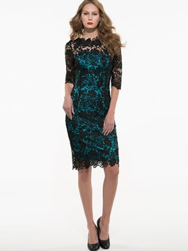 Ericdress Hollow Patchwork Half Sleeve Knee-Length Lace Dress