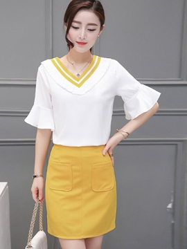 Ericdress Sweet Flare Sleeve Blouse Suit