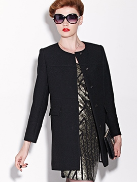 Ericdress Straight Black Trench Coat