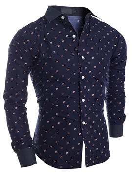 Ericdress Cotton Blends Print Slim Men's Shirt