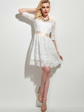 Ericdress Solid Color Patchwork Half Sleeve Lace Dress