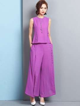 Ericdress Elegant Solid Color Wide Legs Pants Suit