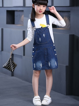 Ericdress Denim Suspenders Girls Dress