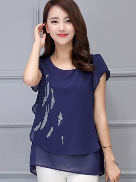 Ericdress Loose Painted Chiffon Blouse