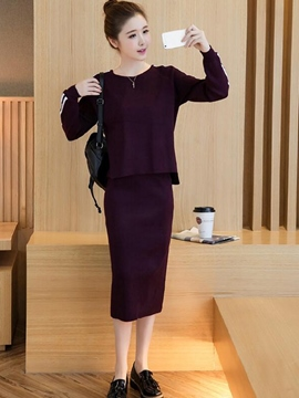 Ericdress Solid Color Knitwear Suit