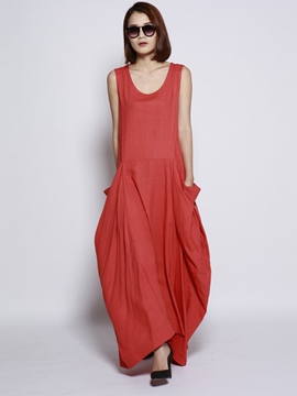 Ericdress Summer Solid Color Sleeveless Poket Maxi Dress