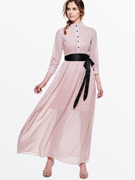 Ericdress Polka Dot Long SLeeve Maxi Dress