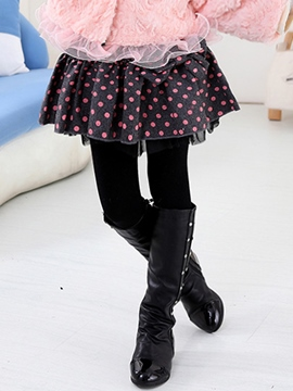 Ericdress Mini Skirt Polka Dots Printed Mesh Bow Patchwork Girls Dress