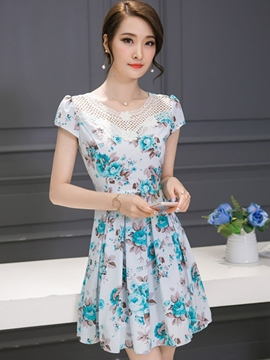 Ericdress Lace Patchwork Print Summer Casual Dress