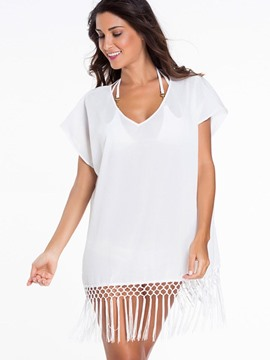 Ericdress White Tassel Cover-Up
