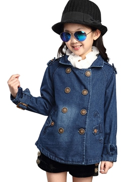 Ericdress Double-Breasted Girls Denim Coat