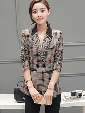 Ericdress Color Block Plaid Casual Slim Blazer