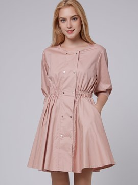 Ericdress Solid Color Three-Quarter Sleeve Casual Dress