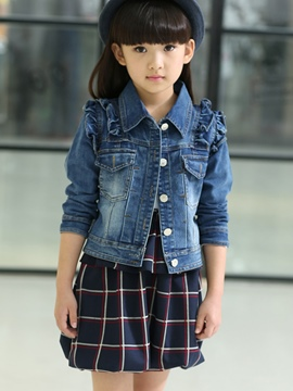 Ericdress Fashion Plaid Dress&Button Chaqueta Girls Outfits