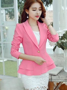 Ericdress Slim Solid Color Double-Layer Blazer
