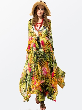 Ericdress Tropical Flower Print V-Neck Long Sleeve Maxi Dress