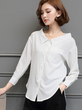 Ericdress Solid Color Single-Breasted Turn-Down Blouse
