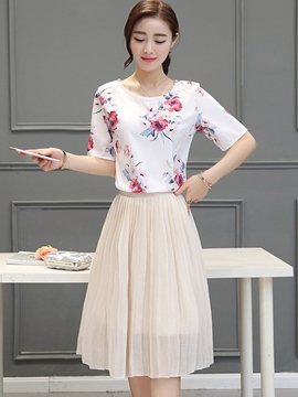 Ericdress Simple Pleated Blouse Suit