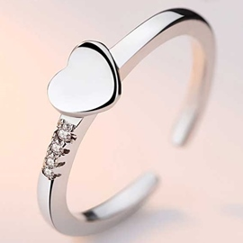 Ericdress 925 Silver Heart Shaped Ring