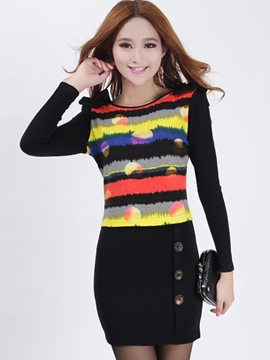 Ericdress Color Block Patchwork Buttons Bodycon Dress